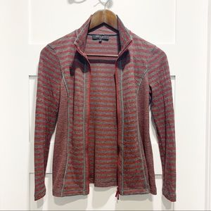 LAFAYETTE 148 Petite striped zip sweater